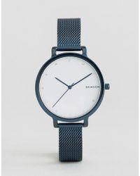Skagen - Blue Ip Hagen Mesh Watch - Lyst