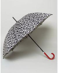 Lulu Guinness - Kensington Walking Umbrella In Cut Up Logo Print - Lyst