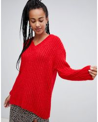 Mango - Oversized V Neck Knitted Jumper In Red - Lyst