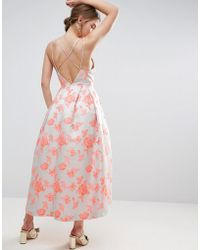 ASOS - Salon Jacquard Strap Back Midi Prom Dress - Lyst