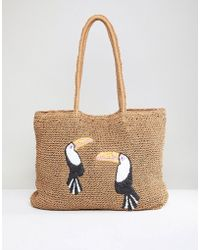 Chateau - Toucan Print Straw Beach Tote - Lyst