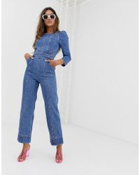 Miss Sixty - Denim Jumpsuit With Puff Fleeve Detail - Lyst