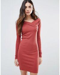First & I - Asymmetric Bodycon Dress - Lyst