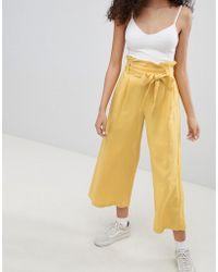 Bershka - Wide Leg Trouser In Yellow - Lyst