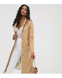 UNIQUE21 Длинная Куртка Из Искусственной Кожи - Бежевый - Многоцветный