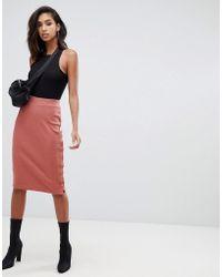 Missguided - Ribbed Popper Detail Midi Skirt In Rose - Lyst