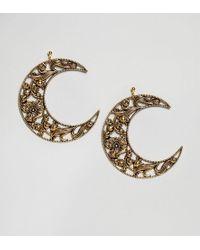 Regal Rose | Eclipse Huge Floral Crescent Earrings | Lyst