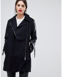 French Connection - Amanda Trench Coat With Faux Leather Sleeves - Lyst