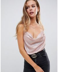 Missguided - Cowl Neck Strappy Body In Blush - Lyst