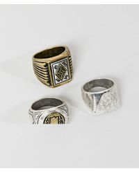 Bershka - Ring 3 Pack In Silver - Lyst