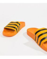 adidas Originals - Adilette Slider Sandals In Orange - Lyst