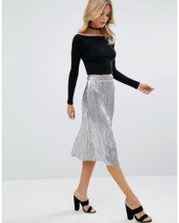 First & I | Metallic Plisse Midi Skirt | Lyst