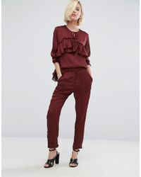 First & I - Tailored Track Pant - Wine - Lyst
