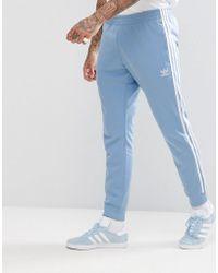adidas Originals - Adicolor Skinny Joggers Cuffed Hem In Blue Cw1277 - Lyst