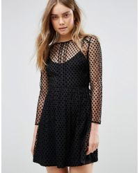 Jack Wills - Spot Velvet Spot Mesh Skater Dress - Lyst