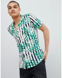 Solid - Revere Collar Shirt In Leaf Print - Lyst