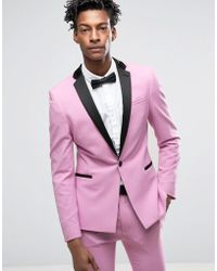 Asos Super Skinny Suit Jacket In Dusty Pink in Pink for Men | Lyst