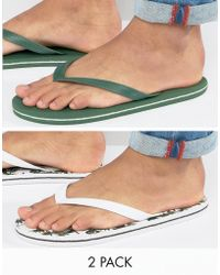 ASOS | Flip Flops 2 Pack In Green And Palm Tree Print Save | Lyst