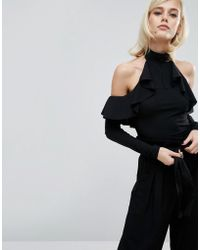 Fashion Union - High Neck Ruffle Body With Cold Shoulder - Lyst