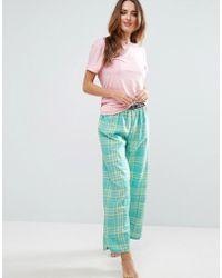 Chelsea Peers - Woven Check Long Pajama Set - Lyst