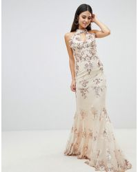 Goddiva - Maxi Dress With Gold Embellishment In Cream - Lyst