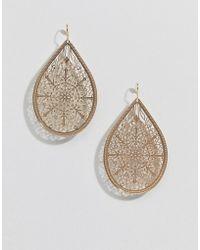 ASOS - Design Earrings In Teardrop Filigree Design In Gold - Lyst