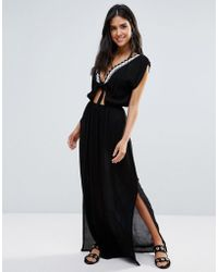 Liquorish | Beach Dress With Tie Front | Lyst