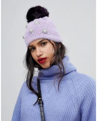 River Island - Faux Pearl Studded Beanie Hat - Lyst