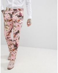 ASOS - Wedding Skinny Suit Trousers In Blush Floral Sateen Print - Lyst