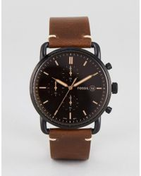 Fossil - Fs5403 Commuter Chronograph Leather Watch In Brown 42mm - Lyst