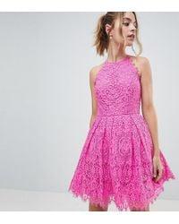 ASOS - Asos Design Petite Pinny Prom Mini Dress In Lace - Lyst