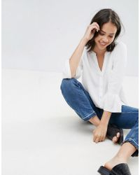 Soaked In Luxury - Peplum Sleeve V Neck Blouse - Lyst