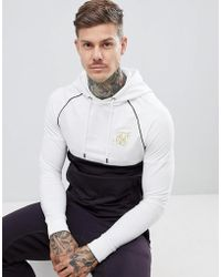 SIKSILK - Hoodie In Navy With Contrast White Panel - Lyst