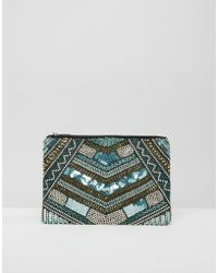 Little Mistress - Blue Sequin And Gold Embellished Clutch - Lyst