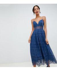 80aaec7464 ASOS - Asos Design Tall Lace Cami Midi Prom Dress - Lyst