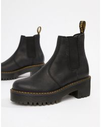 Dr. Martens - Rometty Black Leather Heeled Chelsea Boots - Lyst