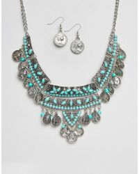 Ruby Rocks - Coin Detail Necklace And Earring Set - Lyst