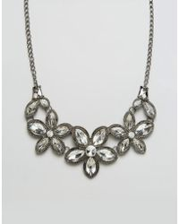 Ruby Rocks - Floral Jewelled Necklace - Silver/clear - Lyst