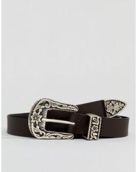 ASOS - Slim Leather Western Belt In Brown - Lyst