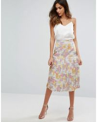 Warehouse - Floral Jacquard Skirt - Lyst