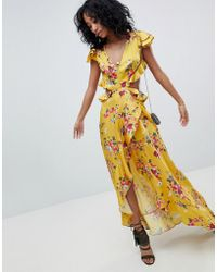 ASOS - Design Ruffle Maxi Dress With Cut Out Back In Yellow Floral Print - Lyst