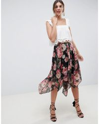 ASOS - Design Soft Floral Print Midi Skirt With Layered Hanky Hem - Lyst
