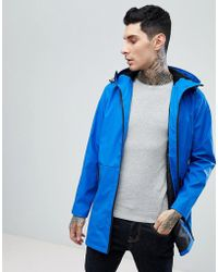 ASOS - Shower Resistant Rain Coat With Fleece Hood In Blue - Lyst