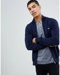Lacoste - Zip Through Jumper In Navy - Lyst