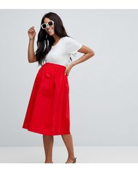 ASOS - Asos Design Maternity Cotton Midi Skirt With Button Front - Lyst