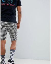 ASOS - Skinny Shorts In Monochrome Grid Check - Lyst