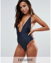 Wolf & Whistle - B-f Cup Navy Shimmer Plunge Swimsuit - Lyst