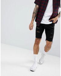 Hollister - Super Skinny Destroyed Denim Shorts In Black Wash - Lyst