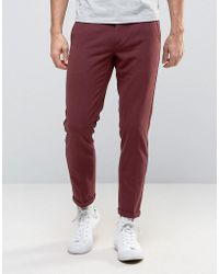 Lindbergh - Trousers With Elasticated Waist In Burgundy - Lyst