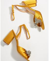 ALDO - Embellished Mustard Heeled Sandals - Lyst